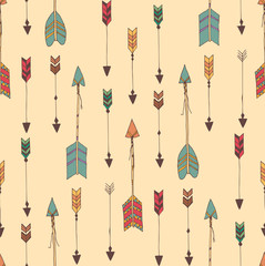 Fototapeta Boho Bohemian hand drawn arrows, seamless pattern