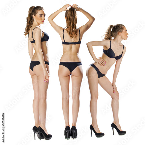 Fototapeta Model tests, Three Young slim women posing in sexy underwear obraz na płótnie