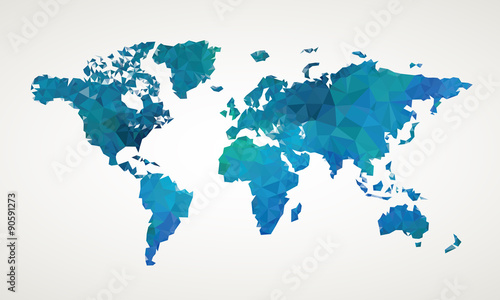 fototapeta na lodówkę World map vector abstract illustration pattern