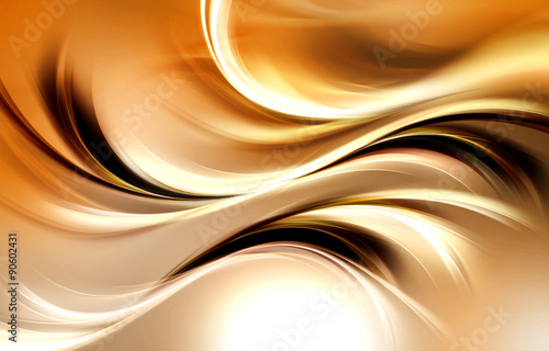 Gold Abstract Waves Art Light Background