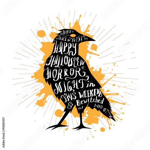Fotografia, Obraz  Halloween retro hand lettering poster.