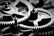 Grunge Gear, Cog Wheels Black And White Background. Industrial, Science