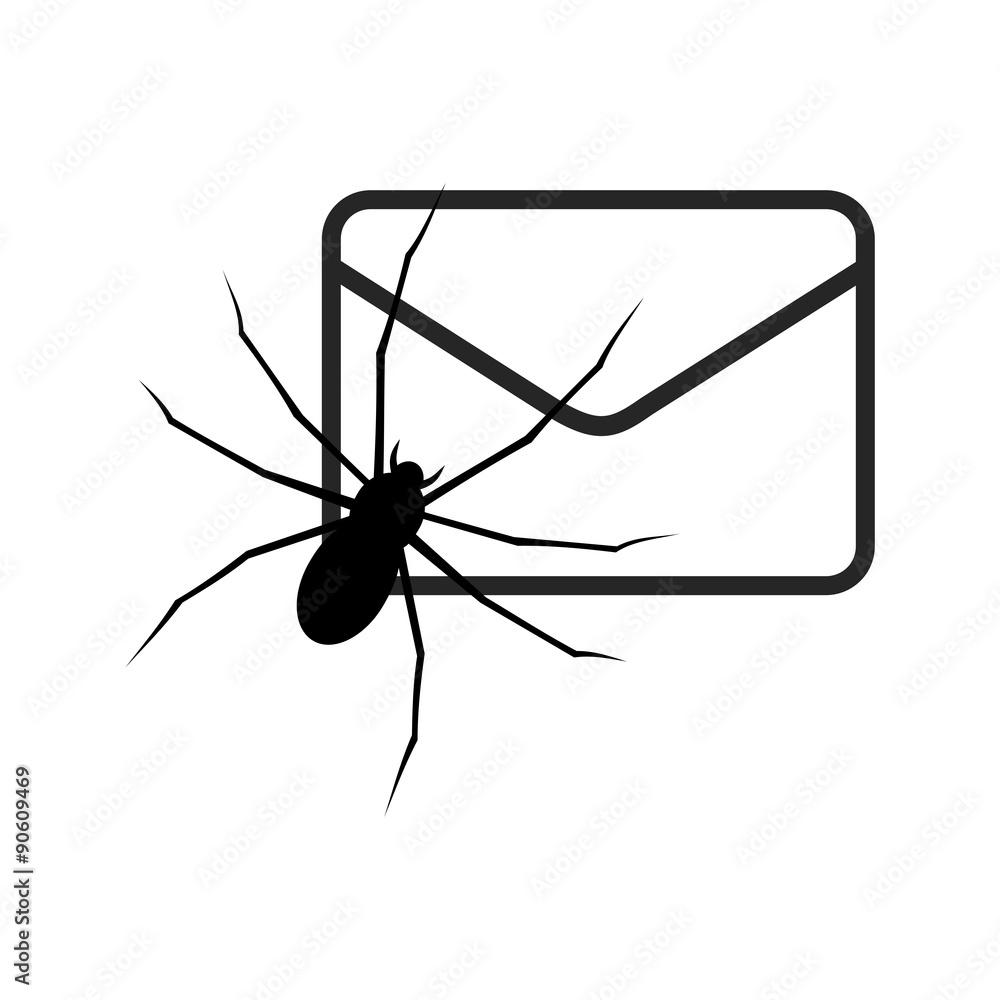 Fototapeta White E mail virus attack, internet trojan detected