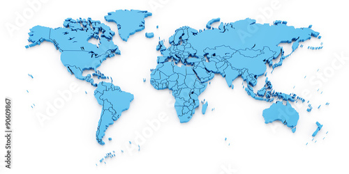 Detail world map with national borders, 3d render