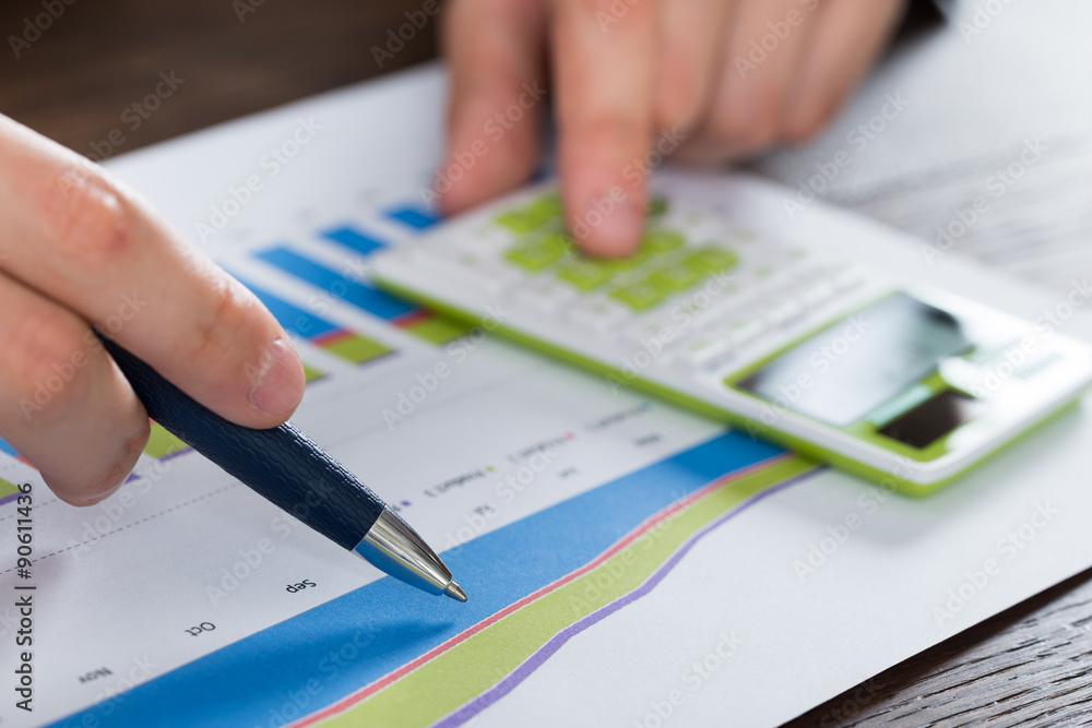 Person Hands Analyzing Financial Report - obrazy, fototapety, plakaty