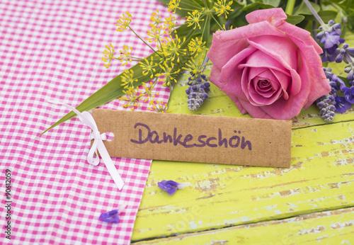 Danke Sagen Dankeschön Karte Schild Mit Blumen Buy This