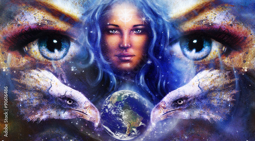 malowanie-orlow-i-tygrysow-oczami-kobiety-na-gwiazdach-kosmicznych