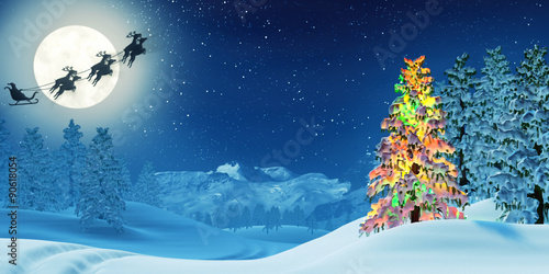 Deurstickers Blauwe jeans Christmas tree and Santa in moonlit winter landscape at night