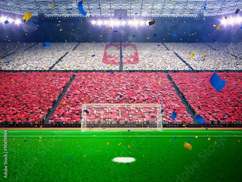 Fotografie, Obraz  Flag Poland of fans. Evening stadium arena Blue