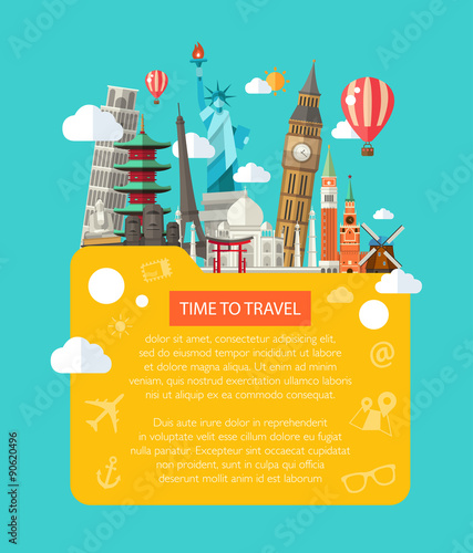 Fotografía  Illustration  of flat design postcard with famous world landmark