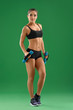 Slim, pretty young woman, sportswoman with beautiful athletic bo