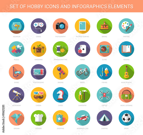 Fotografia  Set of modern flat design hobby icons and infographics elements