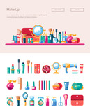 Set of flat design cosmetics, make up icons and elements with