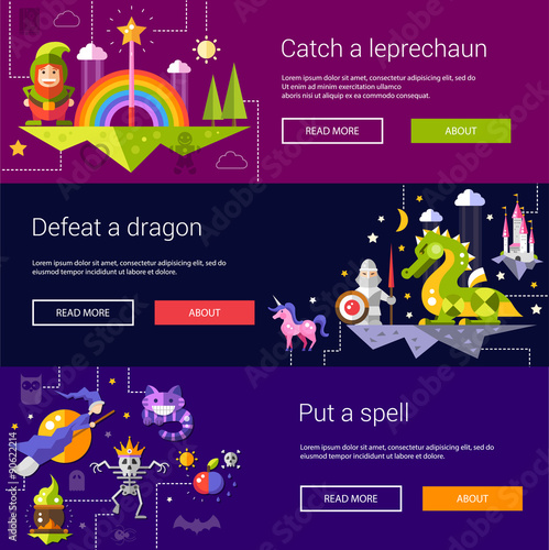 Set of banners, headers, illustrations with fairy tales flat