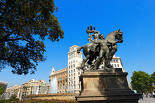 Placa De Catalunya - Barcelona Spain / Allegorical Monument Of Barcelona In Catalunya Square, Large Square In Central Barcelona That Is Generally Considered To City Center