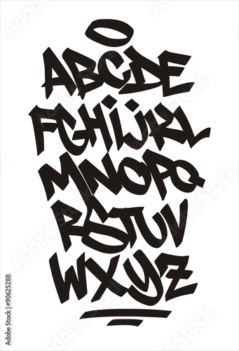 La pose en embrasure Graffiti Vector graffiti font. Handwritten alphabet
