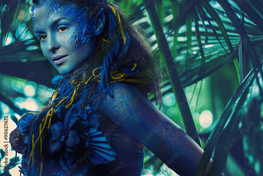 Fototapety, obrazy: Avatar woman in a magical forest