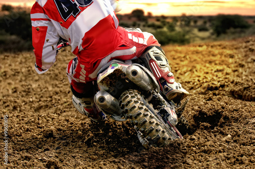 Motocross bike rider rear mud Poster