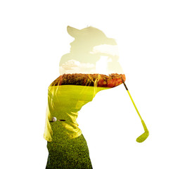 FototapetaDouble exposure of young female golf player holding club combined with green field and sky. Golfing concept.