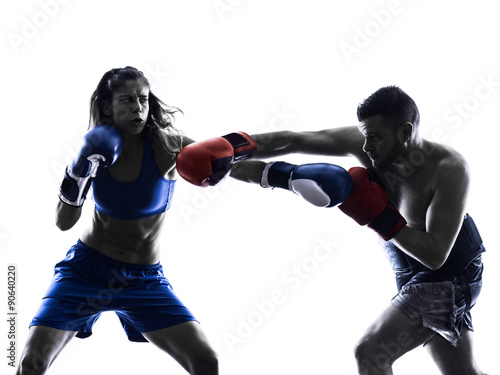Garden Poster Martial arts woman boxer boxing man kickboxing silhouette isolated