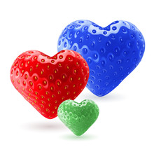 Colorful Strawberry Hearts