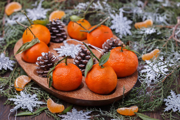 Mandarins as a gift.A traditional Christmas decoration. New year holiday