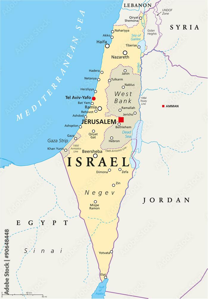 Israel Karte.Israel Politische Karte Mit Hauptstadt Jerusalem Nationale Grenzen