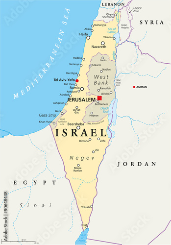 Israel political map with capital Jerusalem, national ...