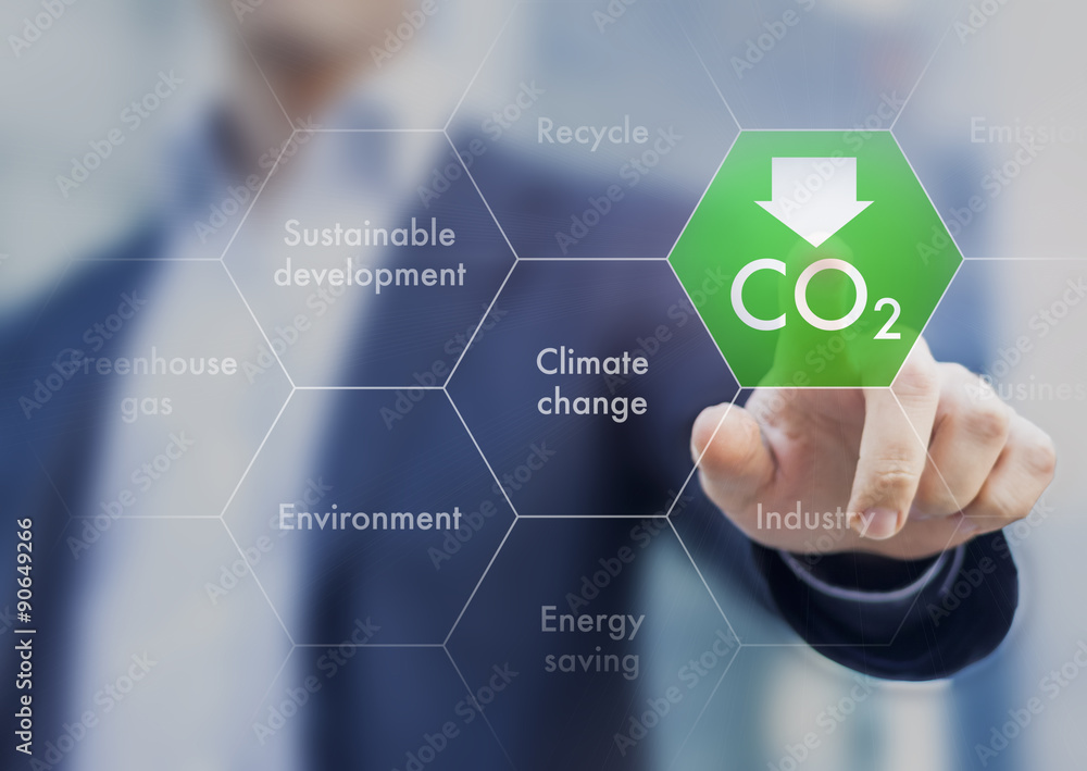 Fototapeta Reduce greenhouse gas emission for climate change and sustainabl