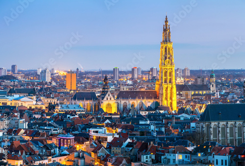 Photo sur Toile Antwerp Antwerp cityscape at dusk