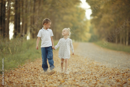 brother sister nature autumn