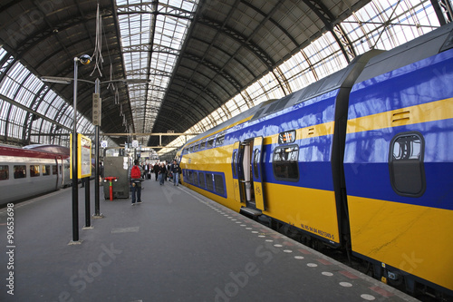 Foto op Canvas Treinstation Railway station in Amsterdam. Netherlands