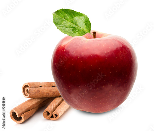 Fototapeta red apple with cinnamon sticks isolated on the white background obraz