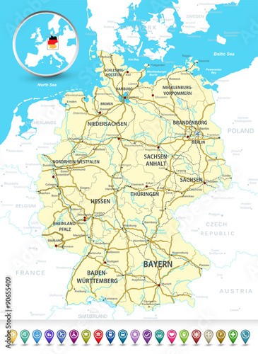 Detailed map of Germany with a 3D bubble GPS markers ...