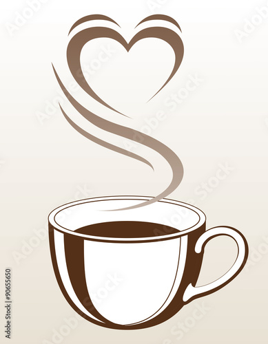 Coffee or Tea Cup With Steaming Heart Shape is an illustration with a cup of coffee or tea with steam coming off of it making the shape of a heart.  - 90655650