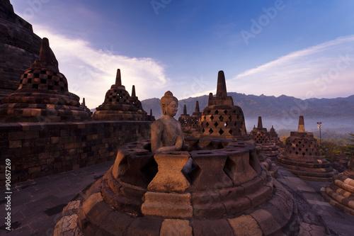 Foto op Aluminium Indonesië Buddha statue at the Borobudur temple in Indonesia