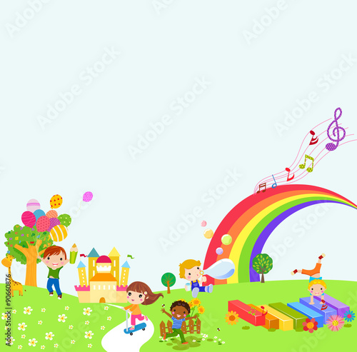 Poster Oiseaux, Abeilles Kids playing