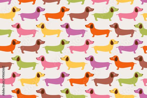 fototapeta na lodówkę seamless cute dogs pattern