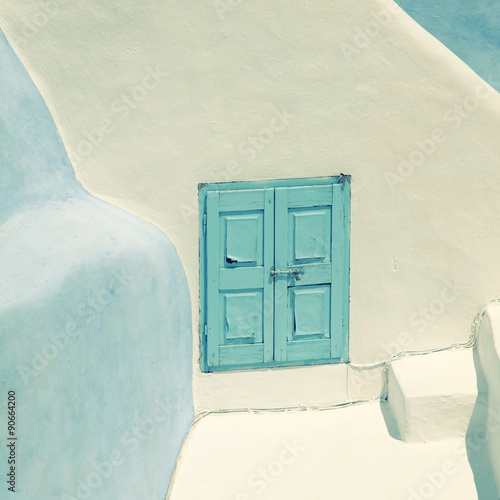 Fototapety, obrazy: Detail of the typical blue and white house in Oia, Santorini isl