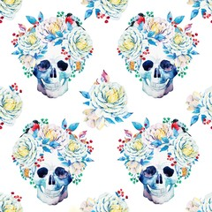 Naklejka Boho Watercolor vector skull pattern