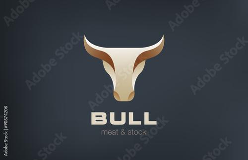 Fotografie, Obraz  Bull Head Logo design vector icon. Stylish Taurus logotype
