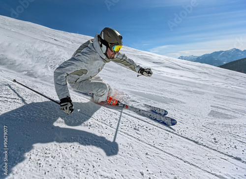 Tuinposter Wintersporten Skier in action
