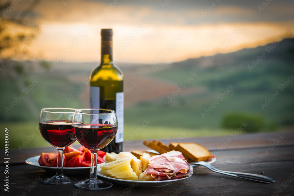 Fotografie, Obraz still life Red wine  ,cheese and prosciutto