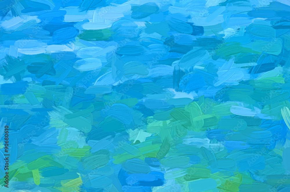 Fototapeta green and blue impasto  - illustration based on own photo image