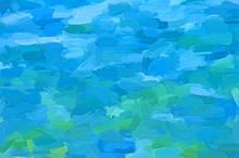 Green And Blue Impasto  - Illu...
