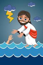 Cartoon Jesus Walking On Water Sea Saving Disciple