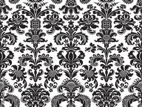 wektorowy-bezszwowy-kwiecisty-adamaszka-wzor-czarny-i-bialy