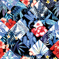 tropical floral patchwork trendy pattern