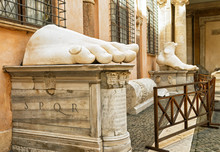 Fragments Of Statue Of Constantine In Capitoline Hill, Rome, Italy