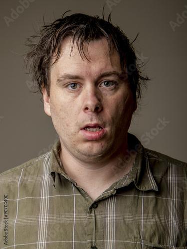 Fotografie, Obraz  Man who looks like he just woke up
